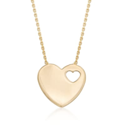 14kt Yellow Gold Heart Cutout Pendant Necklace