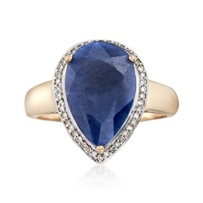 5.50 Carat Sapphire and .13 ct. t.w. Diamond Ring in 14kt Yellow Gold