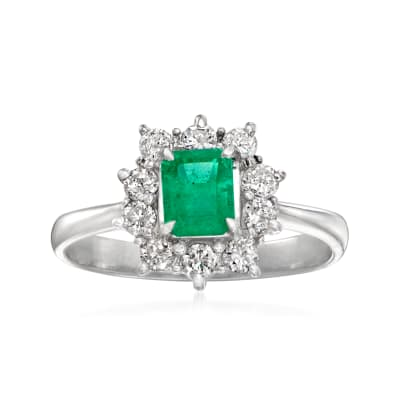 C. 1980 Vintage .49 Carat Emerald and .40 ct. t.w. Diamond Ring in Platinum
