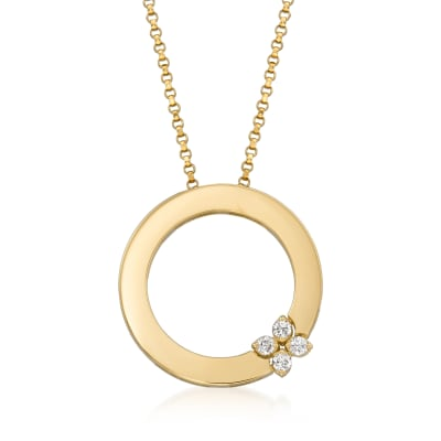 "Roberto Coin ""Love in Verona"" Diamond-Accented Circle Necklace in 18kt Yellow Gold"