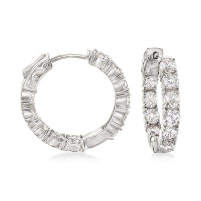 5.00 ct. t.w. CZ Inside-Outside Hoop Earrings in Sterling Silver