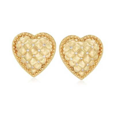 C. 1990 .25 ct. t.w. Diamond Heart Earrings in 18kt Yellow Gold