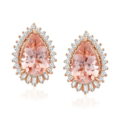2.40 ct. t.w. Morganite Earrings with .34 ct. t.w. Diamonds in 14kt Rose Gold