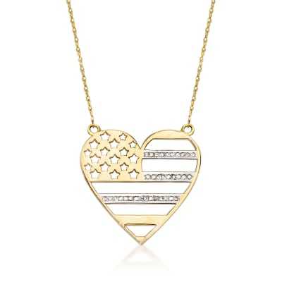 .10 ct. t.w. Diamond Heart Flag Necklace in 14kt Yellow Gold
