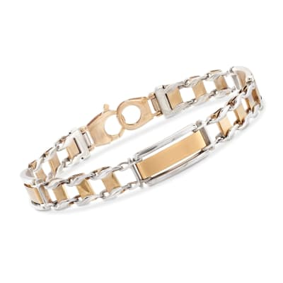 Men's 14kt Two-Tone Gold Brushed and Polished Link Bracelet