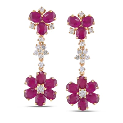8.10 ct. t.w. Pink Sapphire and .96 ct. t.w. Diamond Flower Drop Earrings in 14kt Rose Gold