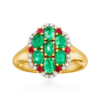 1.20 ct. t.w. Emerald, .14 ct. t.w. Diamond and .10 ct. t.w. Ruby Ring in 14kt Yellow Gold