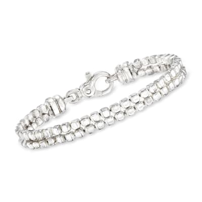 "Zina Sterling Silver ""Ice Cube"" Double Chain Bracelet"