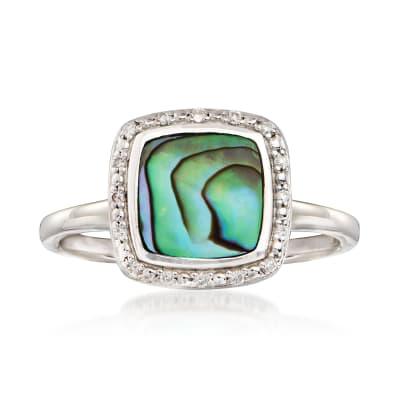 Abalone Shell Frame Ring with Diamond Accents in Sterling Silver