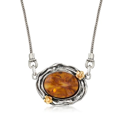 Amber Necklace in Sterling Silver with 14kt Yellow Gold