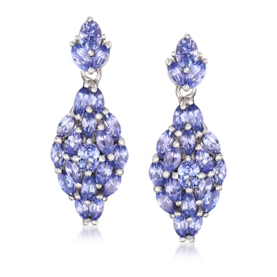3.30 ct. t.w. Tanzanite Drop Earrings in Sterling Silver
