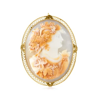C. 1970 Vintage Carved Pink Shell Cameo Pin/Pendant in 14kt Yellow Gold