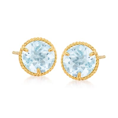 1.30 ct. t.w. Aquamarine Roped Halo Stud Earrings in 14kt Yellow Gold