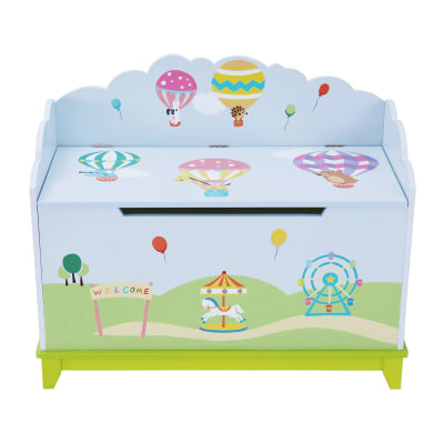 Child's Hot Air Balloons Wooden Toy Chest