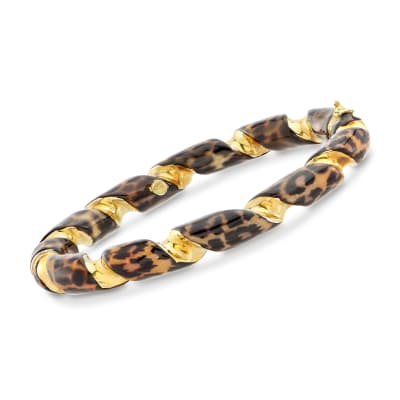 Italian Leopard-Print Enamel Twisted Bangle Bracelet in 18kt Gold Over Sterling