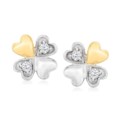 Diamond-Accented Four-Leaf Clover Earrings in Platinum and 14kt Yellow Gold