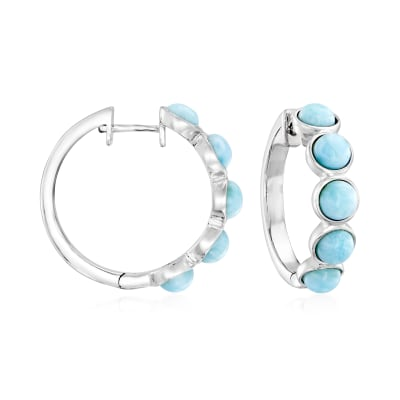 Larimar Hoop Earrings in Sterling Silver