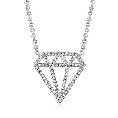 .20 ct. t.w. Diamond Jewel-Shaped Necklace in 14kt White Gold