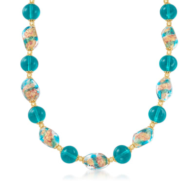 Italian Multicolored Murano Glass Bead Necklace in 18kt Gold Over Sterling