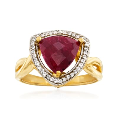 3.10 Carat Ruby and .15 ct. t.w. White Topaz Ring in 14kt Gold Over Sterling
