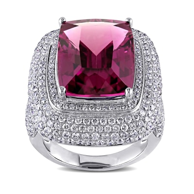 14.00 Carat Pink Tourmaline Ring with 2.70 ct. t.w. Diamonds in 14kt White Gold