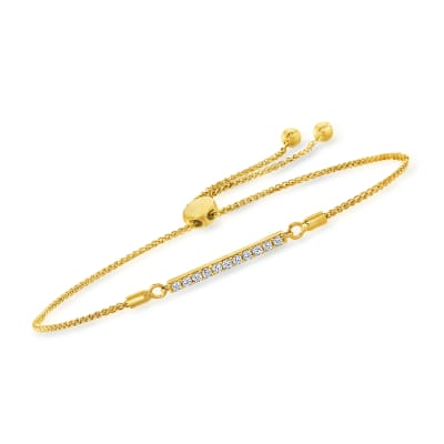 .25 ct. t.w. Diamond Bar Bolo Bracelet in 18kt Gold Over Sterling