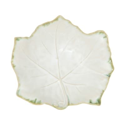 """Vietri """"Foglia"""" White Footed Serving Bowl from Italy"""