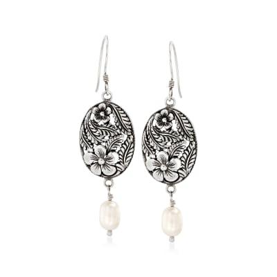 6-6.5mm Cultured Pearl Floral Drop Earrings in Sterling Silver