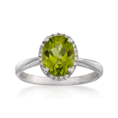 1.80 Carat Peridot Ring in 14kt White Gold