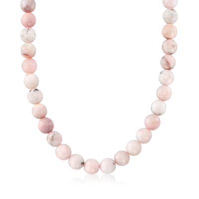 12mm Pastel Pink Opal Bead Necklace with Sterling Silver