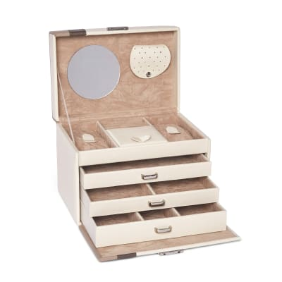 "Brouk & Co. ""Madison"" Beige Faux Leather Jewelry Box"