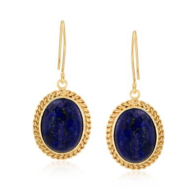 Lapis Drop Earrings in 18kt Gold Over Sterling Silver