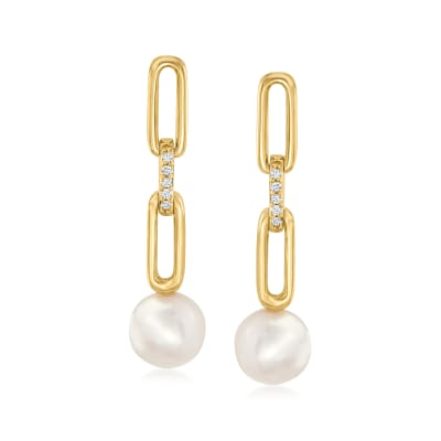 7mm Cultured Pearl Paper Clip Link Drop Earrings with Diamond Accents in 14kt Yellow Gold
