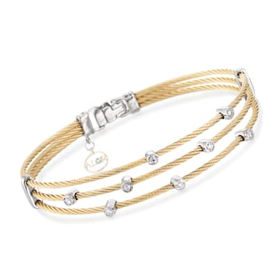"ALOR ""Classique"" .18 ct. t.w. Diamond Yellow Cable Bracelet with 18kt Two-Tone Gold"