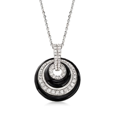 .50 ct. t.w. Diamond and Black Enamel Pendant Necklace in Sterling Silver