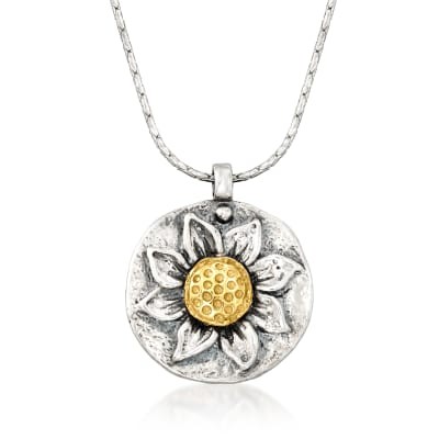 Sterling Silver Sunflower Pendant Necklace with 14kt Yellow Gold
