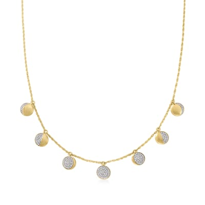 .37 ct. t.w. Diamond Lunar Moon Phases Charm Necklace in 18kt Gold Over Sterling