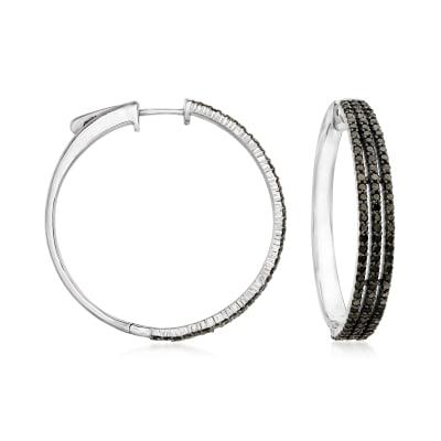 1.75 ct. t.w. Black Diamond Three-Row Hoop Earrings in Sterling Silver