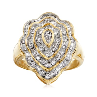 C. 1980 Vintage .65 ct. t.w. Diamond Scalloped Cluster Ring in 14kt Yellow Gold
