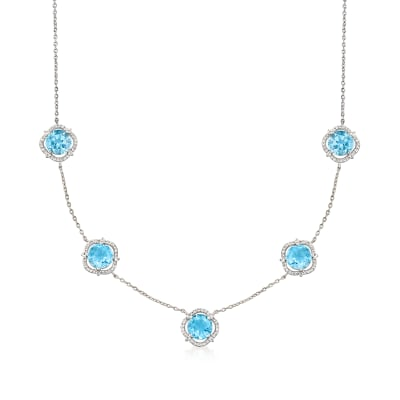 12.00 ct. t.w. Sky Blue Topaz and .70 ct. t.w. White Topaz Station Necklace in Sterling Silver