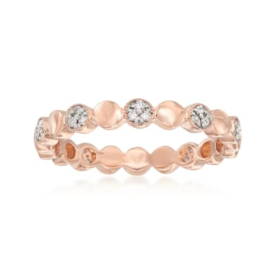 .13 ct. t.w. Pave Diamond Alternating Circle Eternity Band in 14kt Rose Gold