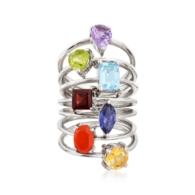 Multi-Gemstone Jewelry Set: Seven Rings in Sterling Silver