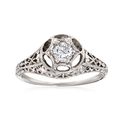 C. 2000 Vintage .30 Carat Diamond Filigree Ring in 14kt White Gold