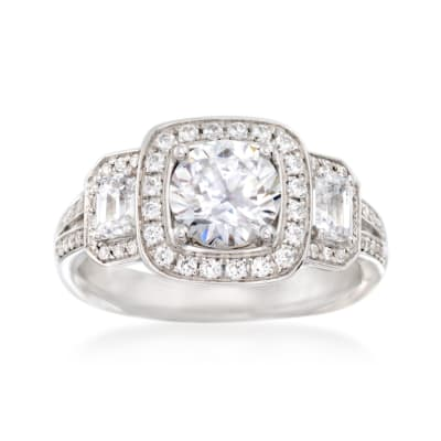 Simon G. .79 ct. t.w. Diamond Halo Engagement Ring Setting in 18kt White Gold