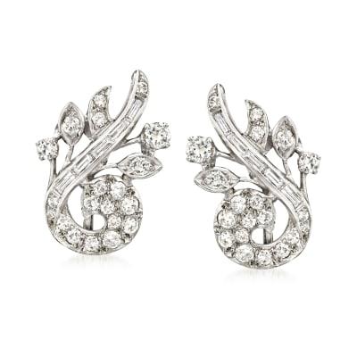 C. 1970 Vintage 1.75 ct. t.w. Diamond Swirl Earrings in 14kt White Gold