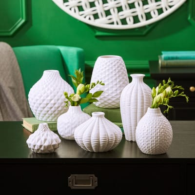 """""""Artisan Carvings"""" Set of Seven White Ceramic Vases"""