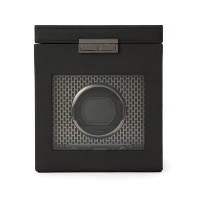 "Wolf ""Axis"" Powder-Coated Steel Single Watch Winder with Storage"