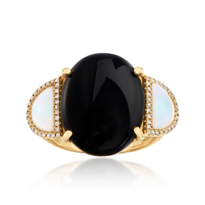 Black Onyx and Mother-Of-Pearl Ring with .16 ct. t.w. Diamonds in 14kt Yellow Gold