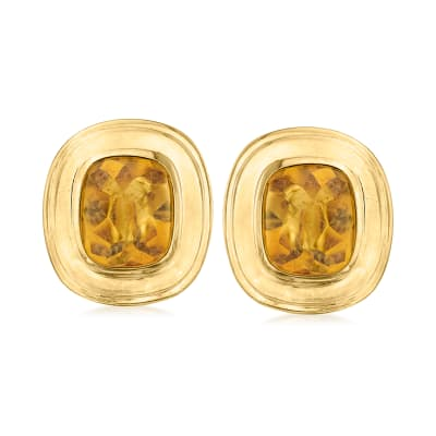 C. 1980 Vintage 10.80 ct. t.w. Citrine Earrings in 18kt Yellow Gold