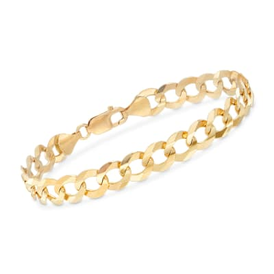 Men's 10mm 14kt Yellow Gold Faceted Curb-Link Chain Bracelet